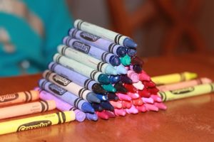 crayons in a preschool class